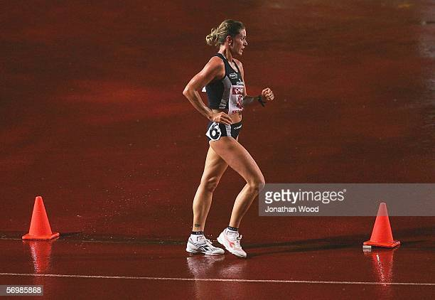 Jane Saville of New South Wales in action during the Womens 5000 metre walk during the Telstra A Series on March 3 2006 at the Queensland Sport and...