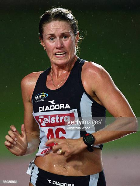 Jane Saville of New South Wales in action in the Womens 5000 metre walk during the Telstra A Series on March 3 2006 at the Queensland Sport and...