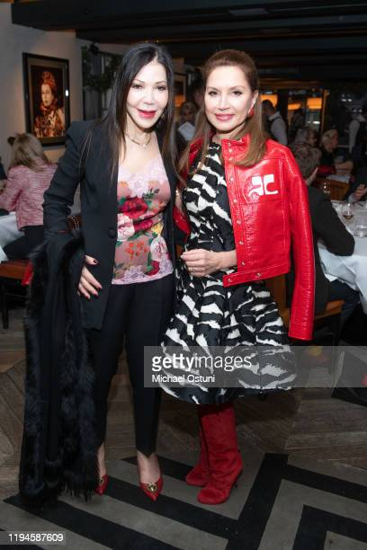 Jane Scher and Jean Shafiroff attend Jean Shafiroff 2019 Holiday Luncheon at Omar's at Vaucluse on December 17 2019 in New York City