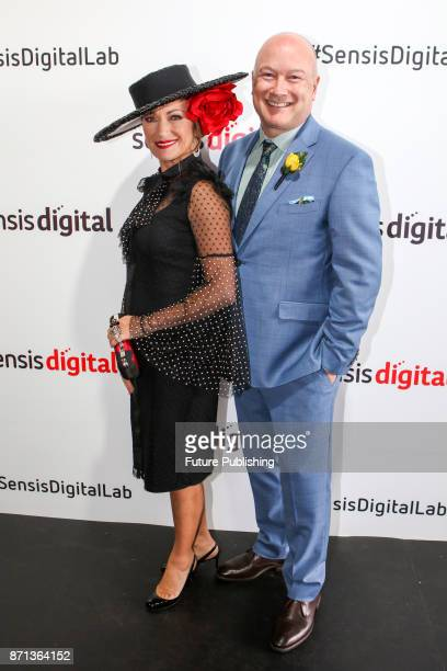 Jane Seymour and Sensis chief executive John Allen seen at the Melbourne Cup Carnival on November 7 2017 in Melbourne Australia Chris Putnam /...