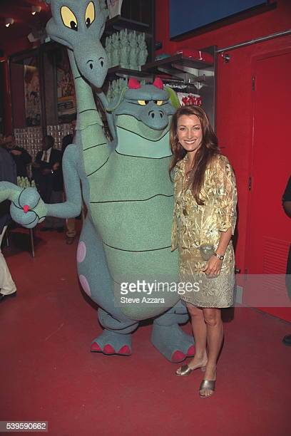 Jane Seymour and the twoheaded dragon from the latest Warner Bros cartoon 'Quest for Camelot'