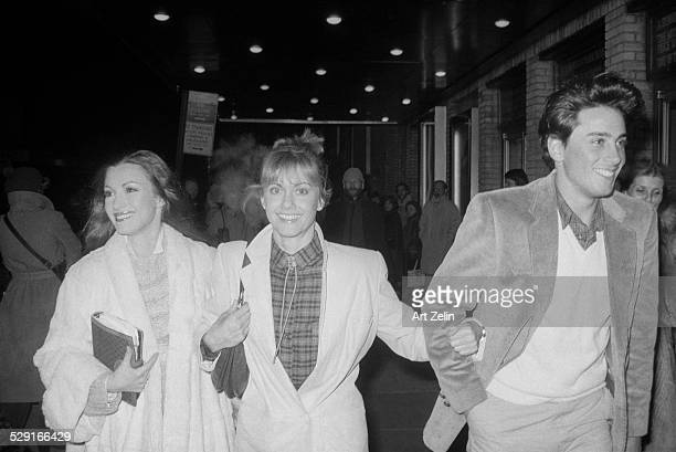 Jane Seymour Olivia NewtonJohn and Matt Lattanzi walking on the street circa 1970 New York