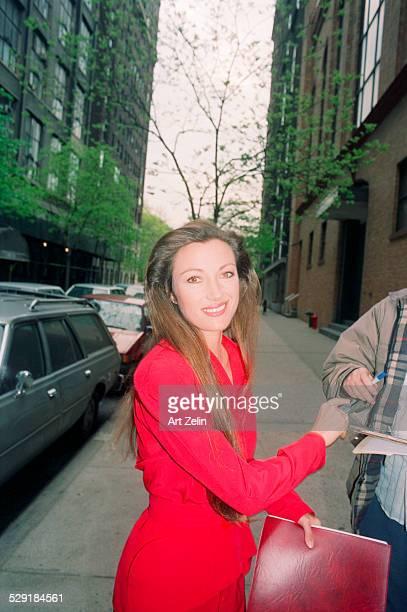 Jane Seymour on the street signing autographs circa 1990 New York