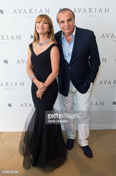 Jane Seymour poses with Edmond Avakian CEO of Avakian as she visits The Avakian Suite during The 68th Annual Cannes Film Festival at Carlton Hotel on...