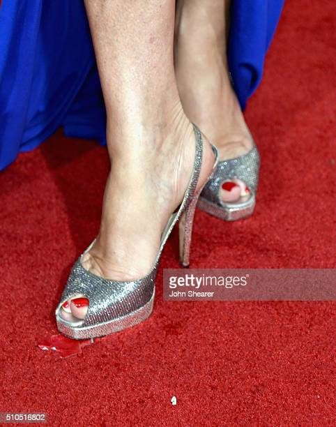 Jane Seymour shoe detail attends The 58th GRAMMY Awards at Staples Center on February 15 2016 in Los Angeles California