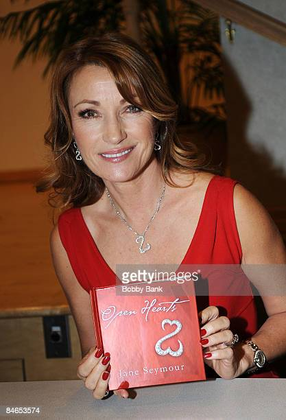 """Jane Seymour signs her new book """"Open Heart"""" at the Ridgewood Public Library on February 4, 2009 in Ridgewood, New Jersey."""