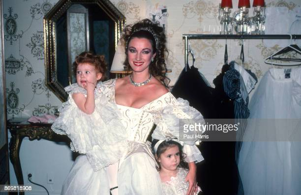 Jane Seymour the English actress who at the time was starring in Dr Quinn Medicine Woman poses with her children in a dress designed by David and...