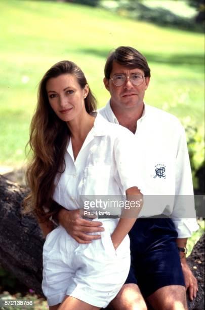 Jane Seymour with her husband David Flynn at home May 5 1991 Montecito Santa Barbara California