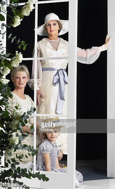 Jane Stevens former wife of Sir Jocelyn Stevens her daughter Pandora Delevingne and grand daughter Cara photographed in the Studio to recreate the...