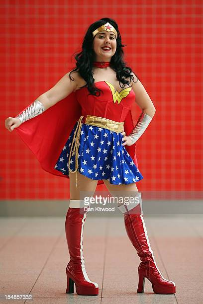 Jane Stewart from Liverpool poses as Wonderwoman ahead of the MCM London Comic Con Expo at ExCel on October 26 2012 in London England Visitors to the...
