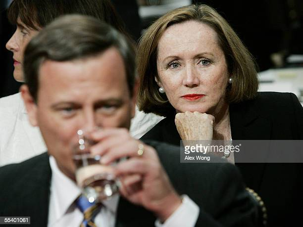 Jane Sullivan Roberts wife of Supreme Court Chief Justice Nominee John Roberts listens as her husband takes questions during his third day of his...