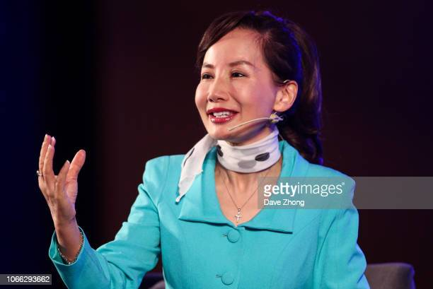 Jane Sun, CEO of CTrip, speaks during Fireside Chat on Day 3 of CNBC East Tech West at LN Garden Hotel Nansha Guangzhou on November 29, 2018 in...