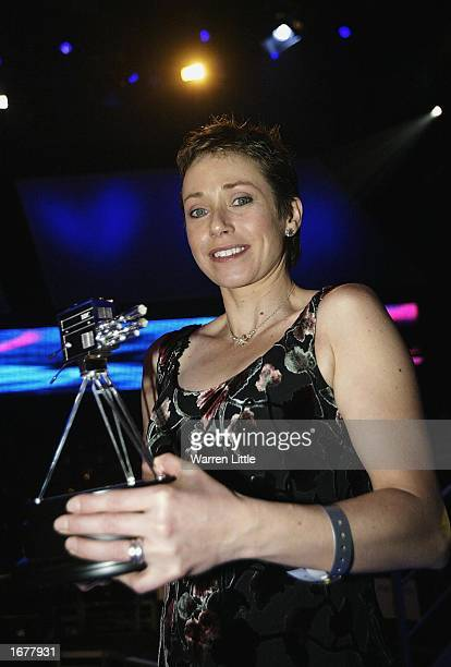 Jane Tomlinson poses with the Helen Rollason award during the BBC Sports Personality of the Year Award held at the BBC Television centre in London on...