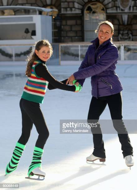 Jane Torvill skates with Courtney Collis during a photocall for opening of the Somerset House Ice Rink at Somerset House on November 15 2009 in...