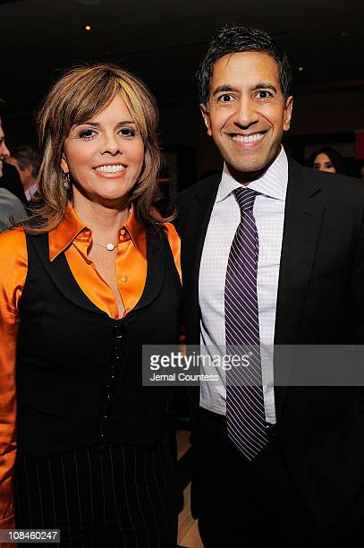 Jane VelezMitchell and Dr Sanjay Gupta attend CNN's Dr Sanjay Gupta Cheating Death Book Party at Rogue Tomate on December 14 2009 in New York City...