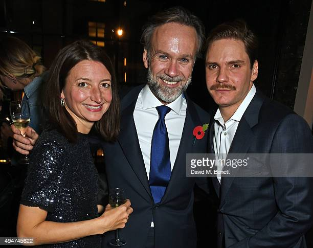 Jane Wareing Marcus Wareing and Daniel Bruhl attend the after party following the European Premiere of Burnt at Tredwell's on October 28 2015 in...