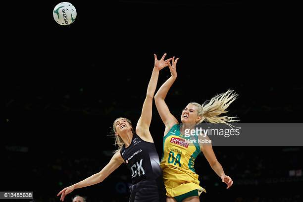 Jane Watson of the Silver Ferns and Gretel Tippett of the Diamonds compete for the ball during game 1 of the Constellation Cup International Test...