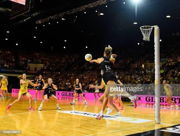 Jane Watson of the Silver Ferns desperately attempts to keep the ball in during the Constellation Cup match between the Australian Diamonds and the...