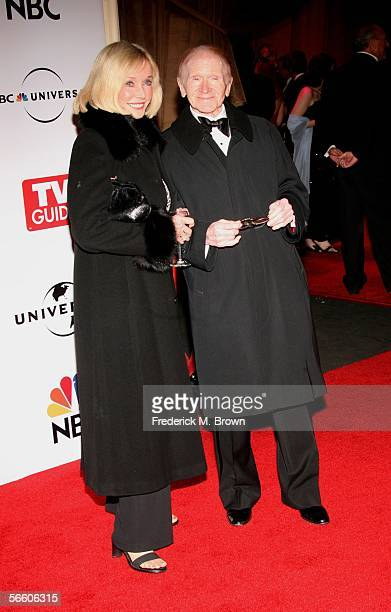 Jane Wooster and actor Red Buttons arrive at the Universal/NBC/Focus Features Golden Globe after party held at the Beverly Hilton on January 16 2006...