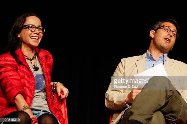 Janeane Garofalo and Sam Seder attend Comedy Art festival presents The News Has No Clothes on day 6 of Aspen Ideas Festival 2010 on July 11 2010 in...
