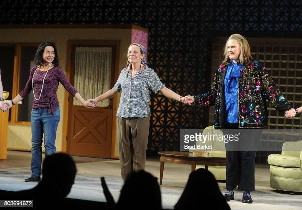 Janeane Garofalo Lili Taylor and Celia Weston attend the curtain call for Marvin's Room Broadway Opening Night at American Airlines Theatre on June...