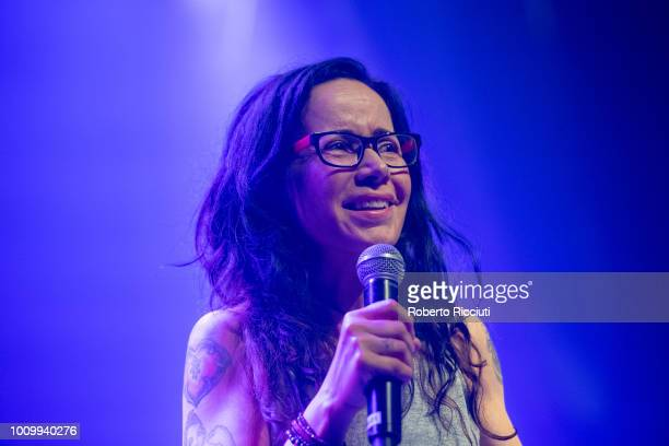 Janeane Garofalo performs on stage during Gilded Balloon 2018 Press Party as part of the annual Edinburgh Fringe Festival at Teviot Row House on...