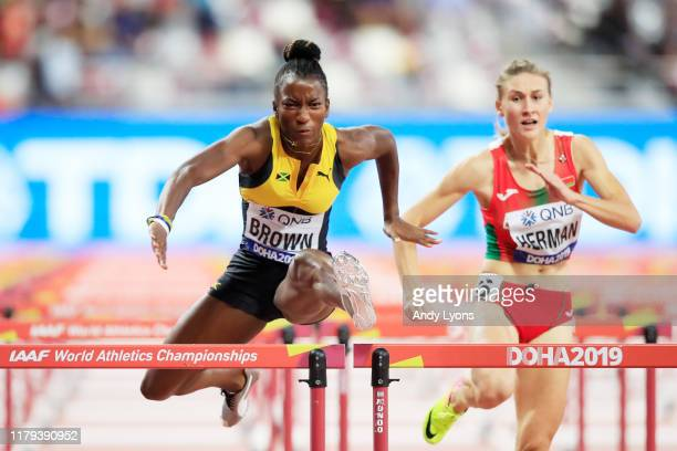 Janeek Brown of Jamaica competes in the Women's 100 metres hurdles semi finals during day ten of 17th IAAF World Athletics Championships Doha 2019 at...