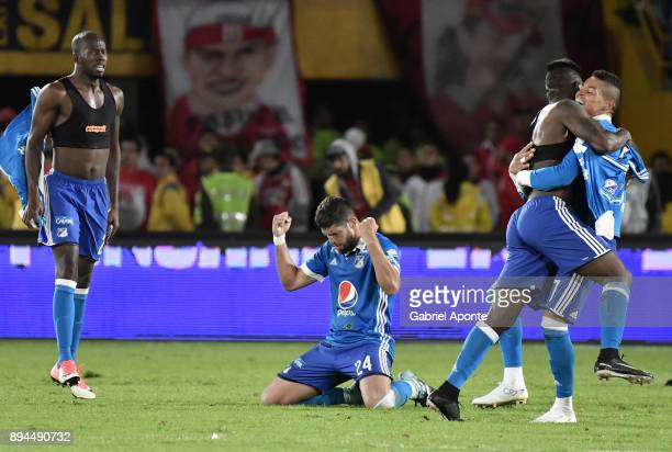 Janeiler Rivas Palacios Matias De Los Santos Duvier Riascos and Ayron del Valle of Millonarios celebrate after winning the second leg match between...
