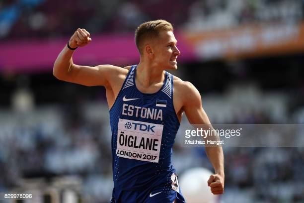 Janek Oiglane of Estonia celebrates after he competes in the Men's Decathlon 100 metres during day eight of the 16th IAAF World Athletics...