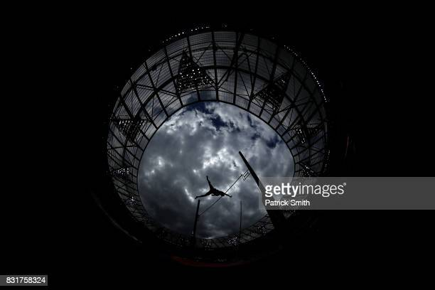 Janek Oiglane of Estonia competes in the Men's Decathlon Pole Vault during day nine of the 16th IAAF World Athletics Championships London 2017 at The...