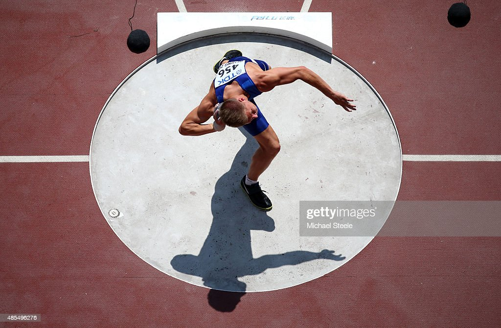 Janek Oiglane of Estonia competes in the Men's Decathlon Shot Put during day seven of the 15th IAAF World Athletics Championships Beijing 2015 at Beijing National Stadium on August 28, 2015 in Beijing, China.