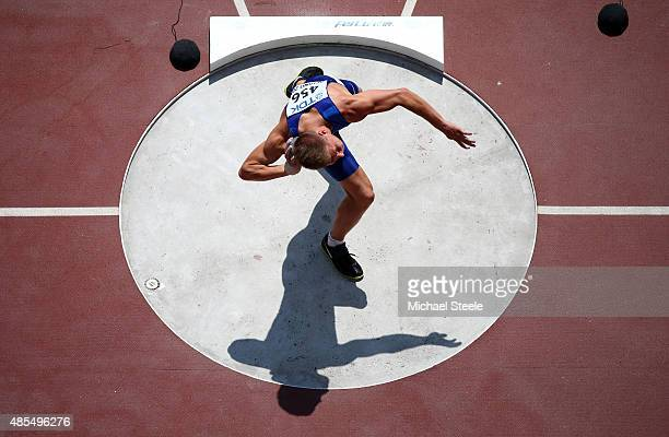 Janek Oiglane of Estonia competes in the Men's Decathlon Shot Put during day seven of the 15th IAAF World Athletics Championships Beijing 2015 at...