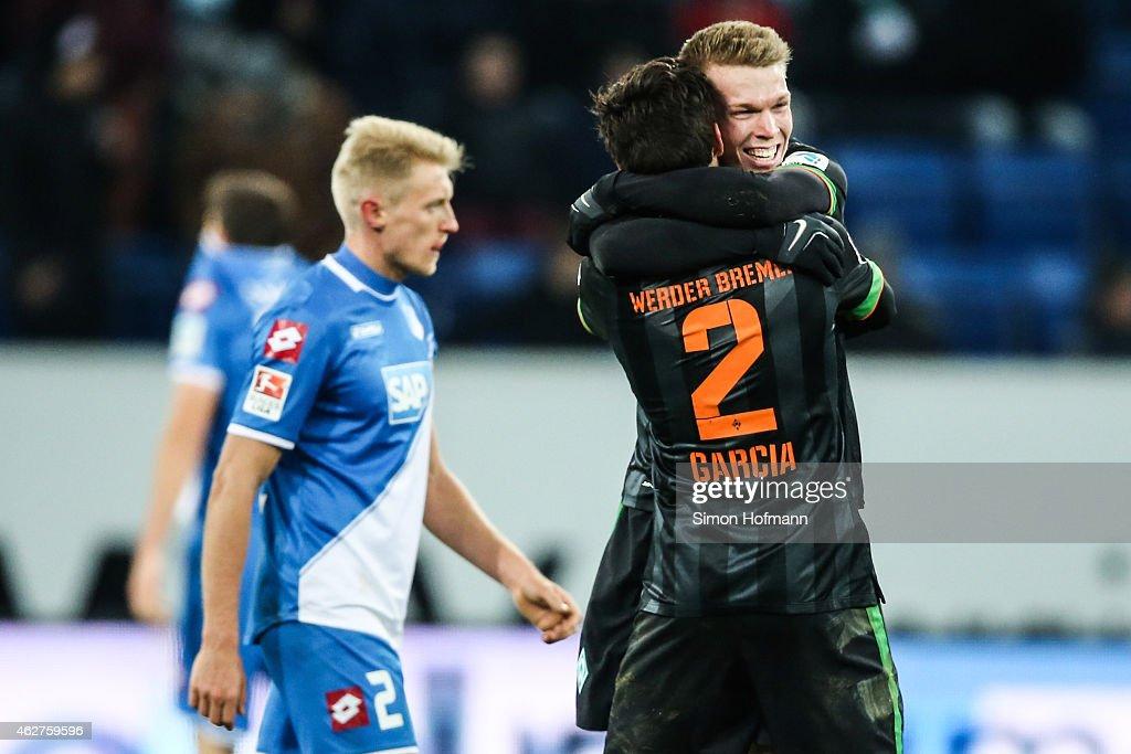 Janek Sternberg (R) and Santiago Garcia of Bremen celebrate winning after the Bundesliga match between TSG 1899 Hoffenheim and SV Werder Bremen at Wirsol Rhein-Neckar-Arena on February 4, 2015 in Sinsheim, Germany.