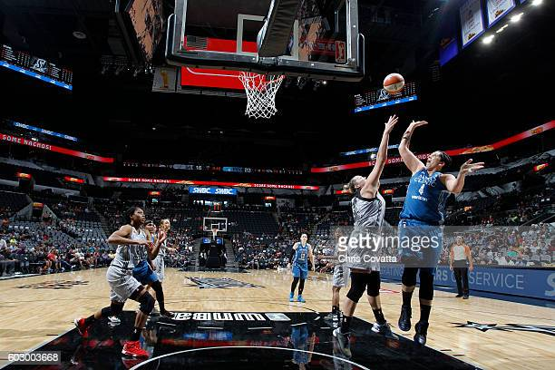 Janel McCarville of the Minnesota Lynx shoots the ball against the San Antonio Stars on September 11 2016 at ATT Center in San Antonio Texas NOTE TO...