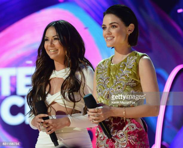 Janel Parrish and Lucy Hale speak onstage during the Teen Choice Awards 2017 at Galen Center on August 13 2017 in Los Angeles California