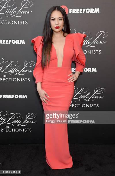 """Janel Parrish attends the """"Pretty Little Liars: The Perfectionists"""" Premiere at Hollywood Athletic Club on March 15, 2019 in Hollywood, California."""