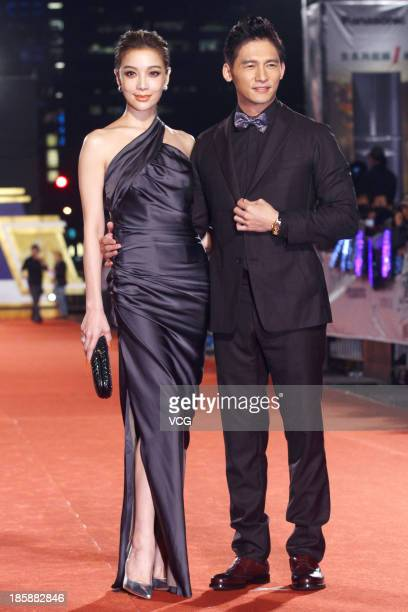 Janel Tsai and James Wen attend the red carpet of the 48th Golden Bell Award on October 25 2013 in Taipei Taiwan of China