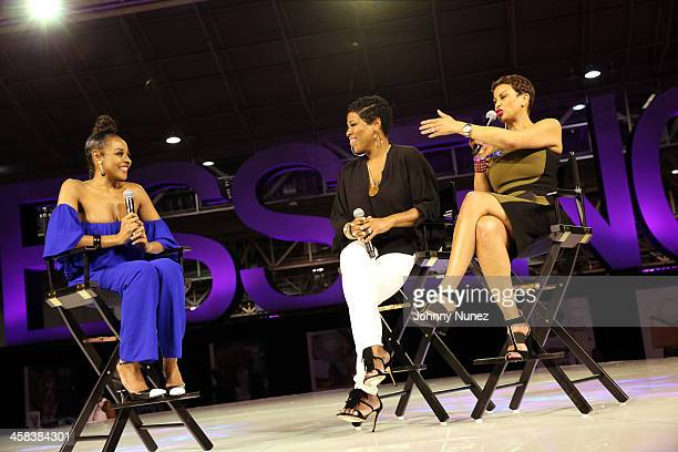 Janell Snowden Nicci Gilbert and Michele Thornton attend Day 2 of the 2016 Essence Festival at Ernest N Morial Convention Center on July 1 2016 in...