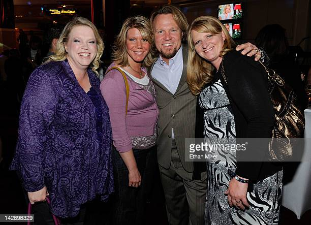 Janelle Brown Meri Brown Kody Brown and Christine Brown from 'Sister Wives' attend a preshow reception for the grand opening of 'Dancing With the...