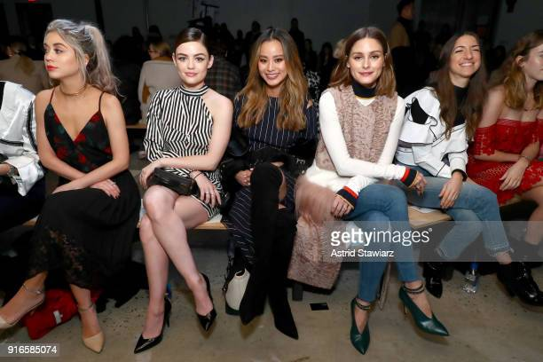 Janelle Hansen Lucy Hale Jamie Chung and Olivia Palermo attend the SelfPortrait Fall Winter 2018 Front Row New York Fashion Week at SIR Stage37 on...