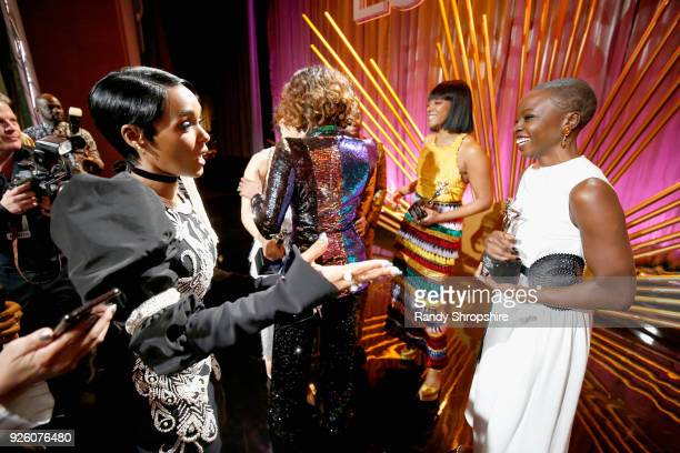 Janelle Monae and Danai Gurira attend the 2018 Essence Black Women In Hollywood Oscars Luncheon at Regent Beverly Wilshire Hotel on March 1 2018 in...