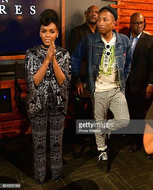Janelle Monae and Pharrell Williams attend the Hidden Figures Soundtrack Listening Party on November 16 2016 in Atlanta Georgia