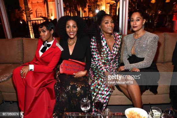 Janelle Monae Angela Bassett and Tracee Ellis Ross attend the 2018 Vanity Fair Oscar Party hosted by Radhika Jones at Wallis Annenberg Center for the...