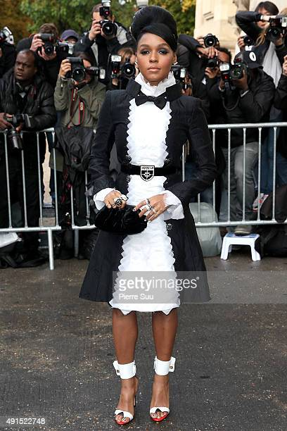 Janelle Monae arrives at the Chanel show as part of the Paris Fashion Week Womenswear Spring/Summer 2016 on October 6 2015 in Paris France