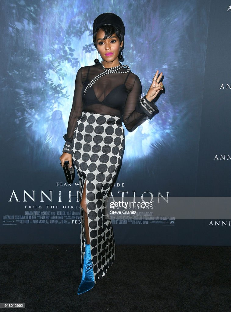 Janelle Monae arrives at the Premiere Of Paramount Pictures' 'Annihilation' at Regency Village Theatre on February 13, 2018 in Westwood, California.