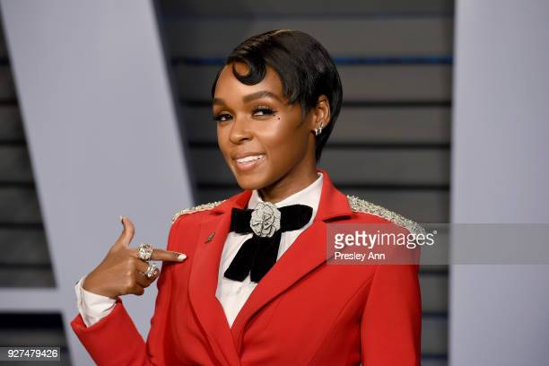 Janelle Monae attends the 2018 Vanity Fair Oscar Party Hosted By Radhika Jones Arrivals at Wallis Annenberg Center for the Performing Arts on March 4...
