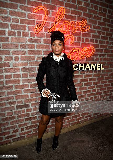 Janelle Monae attends the I Love Coco Backstage Beauty Lounge at Chateau Marmont's Bar Marmont on February 25 2016 in Hollywood California