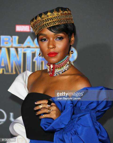 Janelle Monae attends the premiere of Disney and Marvel's 'Black Panther' on January 28 2018 in Los Angeles California