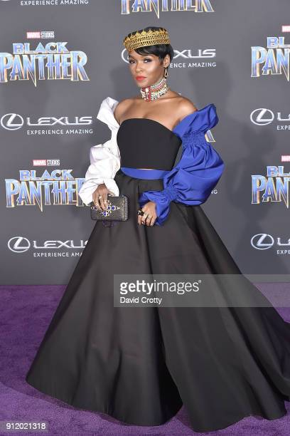 Janelle Monae attends the Premiere Of Disney And Marvel's 'Black Panther' Arrivals on January 29 2018 in Hollywood California