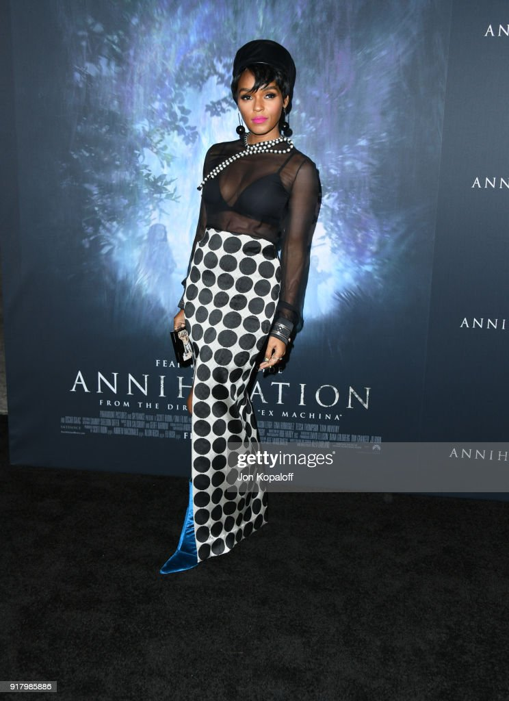 Janelle Monae attends the premiere of Paramount Pictures' 'Annihilation' at Regency Village Theatre on February 13, 2018 in Westwood, California.